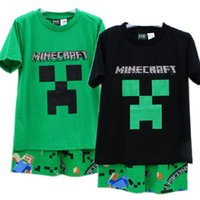 Girl Summer 6T-8T-10T-12T 2015 summer new minecraft baby clothes suit 6-12y boy-kids t-shirts+Pants 4sets lot minecraft clothes baby clothing cotton pajamas sleepwear