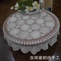 Wholesale 100 Cotton CM Roud Table Cloth Crochet Handmade Tablecloth Table Cover Tablecloth Party Decoration White Tablecloth for Wedding supplies