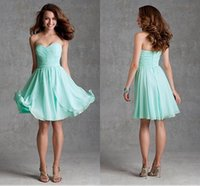 Wholesale New Arrival A Line Short bridesmaids dresses Cheap Sweetheart Ruched Pleats Ruffle bridesmaid dresses Custom Prom dresses W