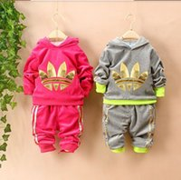 Wholesale 2016 New Baby Boys Girls Sets Cotton Hooded Children s Clothing Sets Fashion Coats Pants pc Tracksuits