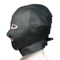 Wholesale Adult game Sex Toys Adult cap pu leather mask Slave Open Mouth Passion Flirting Gags Product Come with Lock SM01