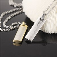 angels bible - Vintage Bible verses titanium steel cross pendant men s necklace male flat post jewelry GX970