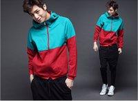 Wholesale 2014 Korean version of the new men s winter sweater stitching Slim Hoodies Sweatshirts men casual cardigan Coats