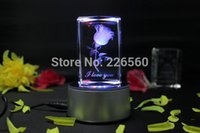 Wholesale Piece USB Gadget LED Colorful Lights D Rotating Crystal Rose with Gift Box