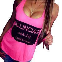 Cheap Women's tanks T-shirts Sleeveless Sport Fitness Letter Print Loose-Fitting Tops Tank Vest Cropped Blusa de renda