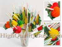 bbq decoration - 3D Fruit Cocktail Drinking Straw Assorted Party BBQ Hawaiian Theme Decoration