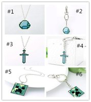 Wholesale Minecraft Creeper Pendant KeyChain My World Creeper Diamond Jewellery Pickaxe Sword Pickaxe Sword Necklace women men statement necklaces