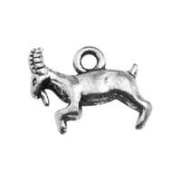 50pcs beaucoup d'argent antique Capricorne chèvre animaux charmes