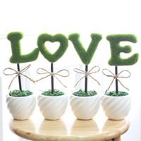 Wholesale Decorative potted artificial flowers valentine gift ideas happy tree bonsai plants LOVE wedding supplies