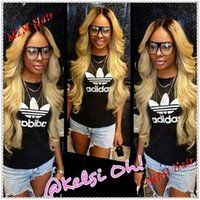 Cheap two tone #1B T #613 blonde lace front wig ombre color wavy brazilian virgin human hair lace wigs glueless for black women