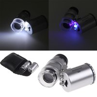Wholesale Quality est Mini X Microscope Pocket Currency LED Light Jewelry Magnifier Lens Loupe Glass east