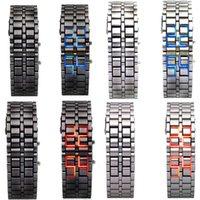 Wholesale Samurai Fashion - new listing 1pcsFashion Men Women Lava Iron Samurai Metal LED Faceless Bracelet Watch Wristwatch to hot sale