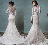 arabic hijab design - Amelia Sposa New Design Dubai Hijab Arabic Style Long Sleeve Wedding Dresses Sheer Neck Beaded Mermaid Bridal Wedding Gown