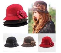 floral bucket hat - New Arrival spring and Winter Elegant Women s Fashion Cap Ladies Flower Rose Bucket Hat Women Small Fedoras Hat Cloche Headwear