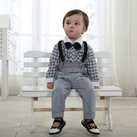 american college boys - 2015 Real Vest Clothing Set Minnie Baby Children Suit Boy Handsome New Spring Models College Lattice Shape Piece Factory Outlets