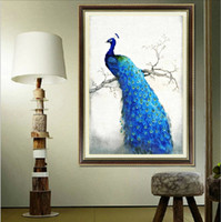 Wholesale diy d d round mosaic diamond embroidery cross stitch picture of crystals decorative painting rhinestone animal blue peacock