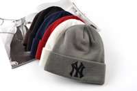 Wholesale 2015 NY MLB Plain Embroidery Beanie Caps Knitted Winter Skull Cap Baseball Hiphop Hat Christmas Gift Top Quality