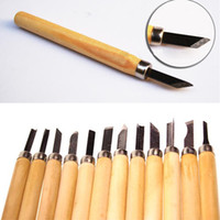 Cheap Free Shipping - 12pcs set DIY Wood Carving Knife Woodworking Engraving Tool Manual Knife Wooden Handle with Stainless Steel Blade