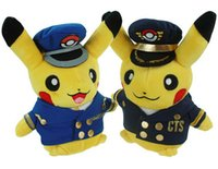 airline toys - Poke Plush Toys cm Airline Captain Station Manager Pikachu Euro American Movie Plush Stuffed Toys