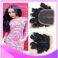 Wholesale Brazilian Virgin Hair Egg Curl Lace Closure Bleached Knots x4 Unprocessed Funmi Hair Bouncy Curly Closure