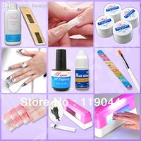 uv gel nail kit with light - Full Set UV Gel Kit Nail Pen Topcoat Cleanser W Pink UV Gel Curing Lamp With A Small Light