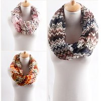 Wholesale NEW fashion colours voile wave pattern Chevron Infinity Scarves Womens shawl super long scarf F123