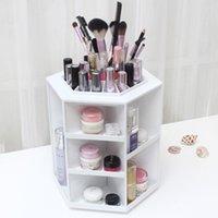 Wholesale 360 Degree Rotation Rotating Make up Organizer Cosmetic Display Brush Lipstick Storage Stand Pink White Hot Selling