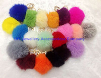 Wholesale mixed colors Cute Genuine Leather Rabbit fur ball plush key chain for car key ring Bag Pendant car keychain