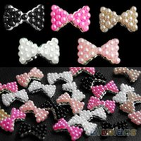 Wholesale 3D Alloy Pearl Bow Tie Bowtie Nail Art Glitters Stickers DIY Rhinestone Decorations for Girl Women DN4