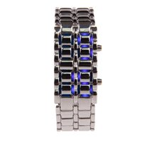Wholesale IT IS A WATCH SERIOUSLY Stylish LED Blue Light Digit Stainless Steel Bracelet WristWatch Silver Blue x CR2016