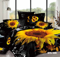 100% cotton sheet - 2015 New Cotton Sunflower Printing D Bedding Set Full Queen King Size Comforter Set Duvet Cover Bed Sheet Bedding Supplies