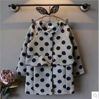 Cheap New Arrival Girls 2015 Winter Best Sale Fashion Polka Dot Falbala Coat Childrens Round Neck Single Breasted Woolen Coat Kids Outwears