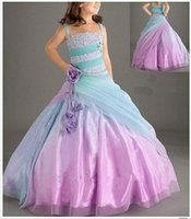 Wholesale 2016 Attractive Tulle Girl s Pageant Ball Gown Straps Sweep Train Little Girl Dress Hand Made Flowers Beads Ruffles Ombre Kids Formal Wears