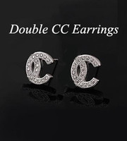 Wholesale Double CC Earrings sterling Silver Plate earrings with upscale Diamond austrian crystal stud earrings for women wedding fashion jewelry