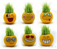 Wholesale 1000PCS LJJHH751 QQ Emoji expression mini plants magic grass planting bonsai green plants potted gift Flower Seeds