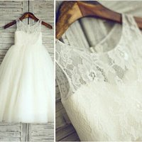 Cheap 2015 White Lace Flower Girl Dresses Party Dress Pageant Dress for Little Girls Tulle Kids Children Dress for Wedding Party Gowns Real Photos