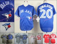 Baseball Men Short 2015 Toronto Blue Jays 20 Josh Donaldson Jersey White Grey Blue Red Cool Stitched Authentic Baseball Jersey Embroidery Logo