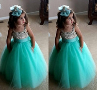 Wholesale 2015 Cheap Mint Green Flower Girl Dresses A Line Spaghetti Backless Beaded Crystal Fluffy Tulle Custom Made Long Girls Pageant Dress