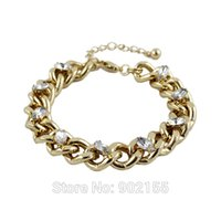 ally set - Pulseras Para Las Mujeres Elegant Rhinestone With Thick Gold Color Ally Chain Adjustable Bracelets And Bangles