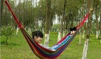Cheap 5PCS HHA633 Cotton Camping hammock swing outdoor thickening canvas hammock casual single double bearing Hot Sell