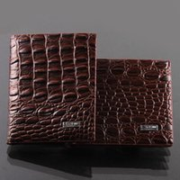 american cover design - Fashion mens leather luxury wallet crocodile grain casual short design card holder money purse clips wallets for men high quality