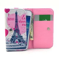 Wholesale Flip Wallet Leather Case Flower Polka Dot Eiffel Tower Cover W Credit Card Slot for iphone Samsung Galaxy S6 edge Universal Phone Case