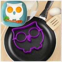 Wholesale Cooked Fried egg owl egg shaper silicone moulds owl egg ring silicone mold cooking tools christmas supplies