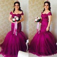 Wholesale Purple Wedding Dresses Mermaid Lace Beading Arabic Gorgeous Bridal Gowns Cap Sleeves Plus Size Lace Up Back Floor Length