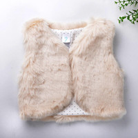 Wholesale 2016 autumn winter Baby sleeveless faux fur vest baby girl winter waistcoat fur vest for baby clothing