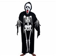Wholesale Skull Skeleton Ghost Clothes Halloween Costume Masquerade Suit with Horror Mask Adult kids Cosplay Ghost Costume Skull Skeleton Ghost G0179