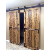 antique double doors - 10FT Arrow Stylish Antique Black Wooden Double Sliding Barn Closet Door Heavy Duty Modern Wood Hardware Interior American Style Track Kit