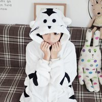 Wholesale Mink flannel white tiger animal piece pajamas cartoon couple home autumn and winter long sleeved coral clothing
