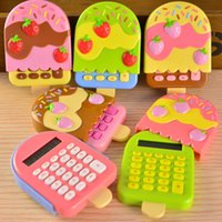 Wholesale Sweet multicolor mini ice cream Art flip calculator Korea stationery student learning essential computer