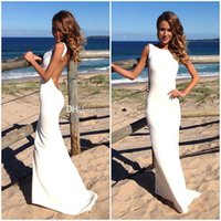 Cheap Backless Beach Wedding Dresses Vintage Bateau Neckline White Summer Wedding Gowns Sexy Evening Dresses Spandex Tight Maxi Dresses